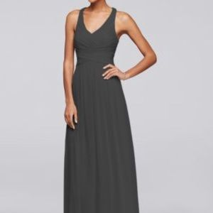 David's Bridal Mesh long Bridesmaids Dress